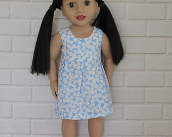 Blue White Sleeveless Pleated Summer Dress Doll Clothes to fit 18 inch dolls to 20 inch dolls such as American Girl & Australian Girl dolls