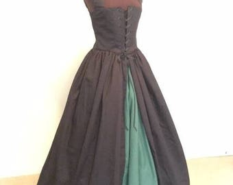 Black Irish Celtic Renaissance Overgown Dress with forest green skirt READY to ship