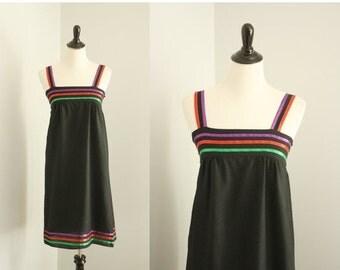 SALE 40% OFF 1970s dress | vintage 70s black sundress