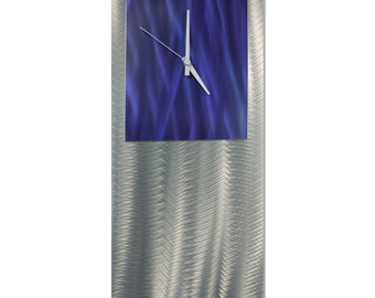 Blue Modern Clock 'Blue Studio Clock' by Nate Halley - Metal Wall Decor Funky Art Clock on Ground and Colored Aluminum
