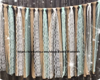 Rustic Hanging garland with Mint green and Ivory lace and burlap strips, Bridal shower decor, country wedding rag tie or photo backdrop swag