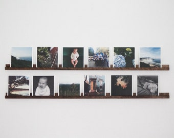 Handcrafted Photo Rail - Walnut or Maple - Photo Display Shelf - Christmas Gift