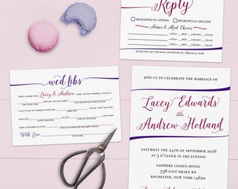 Funny Wedding Invitations with Mad Lib RSVP (Custom Colored) Printed Suite No. 100