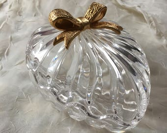 Vintage Crystal Glass Bowl/Knicknack Dish with Lid/Cover; Heart Shaped with Gold Bow Accent; Medium from the 1980's