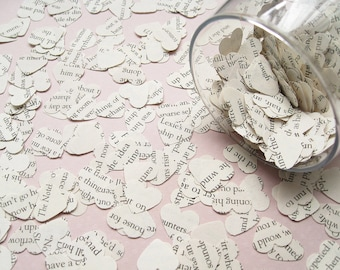 Beauty and The Beast Novel Book Confetti Hearts - Choose from 1500 or 2000 - Wedding Birthday Party Table Decor