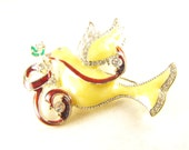Peace Dove Brooch Enamel Body Rhinestone Details Figural Bird Pin