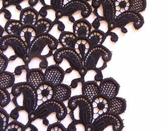 Vintage New Black Guipure Lace Fabric