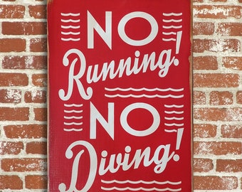 No Diving Swimming Pool Sign No Running No Diving Outdoor Wood Sign