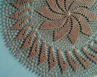"Вrown crochet doily Round 56 cm / 22"". Crocheted Doily."