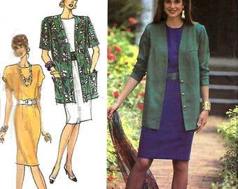 Simplicity 7101 Misses/ Miss Petite Easy-To-Sew Dress And Unlined Jacket pattern, Size 6-14, UNCUT
