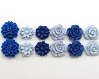12 pcs Resin Flower Cabochons Assorted Sizes Sampler Pack - Wintery Colors (12-15mm size range)