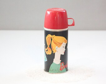 1960s Ponytail Barbie Collectible Thermos, Black and Red