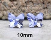 Lavender Swarovski 10mm Rivoli Butterfly Rhinestone Stud Earrings-Large Lavender Crystal Studs-Large Purple Butterfly Crystal Studs-