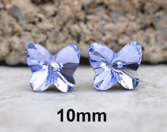 Lavender Swarovski 10mm Rivoli Butterfly Rhinestone Stud Earrings-Large Lavender Crystal Studs-Large Purple Butterfly Crystal Studs-