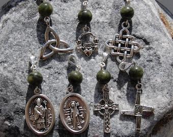 Necklace with Connemara Marble, choice of Charms. Ireland Irish Celtic Cross Claddagh Bridget Brigid Brighid Patrick Pagan Christian Erin