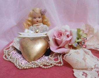 Large Pink Velvet Vintage Valentine Box with Nancy Anne Doll Altered Shabby Chic  OOAK Mixed Media Kitsch Whimsical