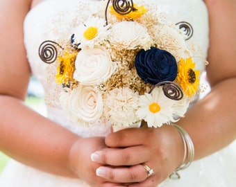 Wedding, Sola Bouquet, Navy  Blue Yellow Wood Bouquet, Alternative Bridal Bouquet, Sola flowers, Bouquet, Handmade