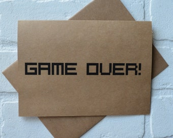 GAME OVER groomsman Card Funny Groomsmen Card gamer card wedding party Bridesmaid cards Best Man card bridal party card groomsman proposal
