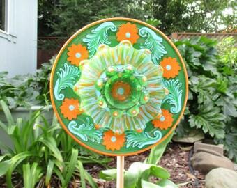 Outdoor Garden Decorations - glass plate flower - hand painted Orange, Blue & Green -garden art- repurposed glass garden art - vintage glass