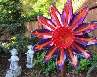 glass garden art hand painted purple scarlet orange garden decor plate flowers - Orange Garden Decor