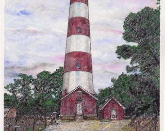 Assateague Lighthouse Watercolor Print, Assateague National Seashore Painting, Virginia and Maryland Art, Beach Picture, Chincoteague