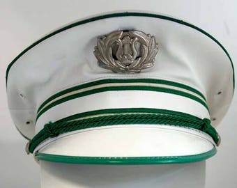 Vintage Marching Band Cap Hat White