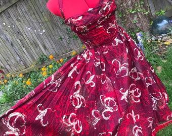 RESERVED 1950s Shaheen Petal Bust Hawaiian Dress