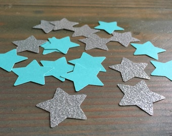 Silver glitter and teal Star confetti, table decor, party decoration, baby shower, twinkle twinkle little star, 150 pieces