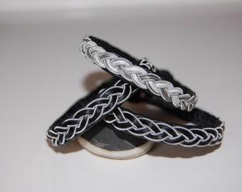 Horse Hair Sami Bracelet  - Lapland - Pewter Silver Reindeer leather  custom made