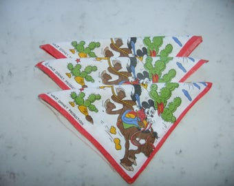 Vintage Swedish set of three Children handkerchiefs - Walt Disney print