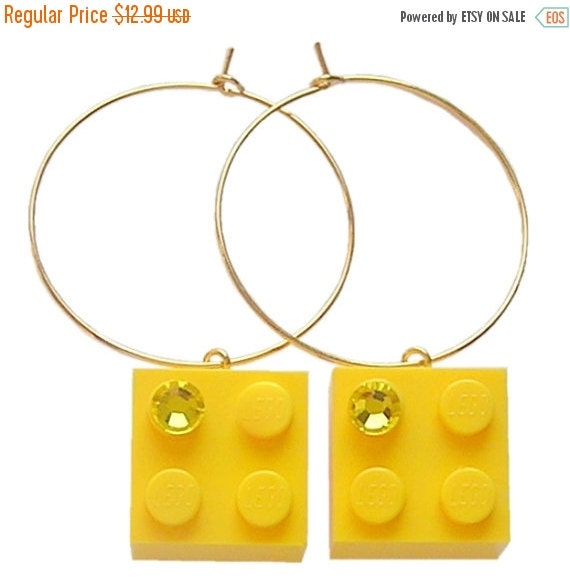 ON SALE Yellow LEGO (R) brick 2x2 with a Yellow Swarovski crystal on a Silver/Gold plated hoop