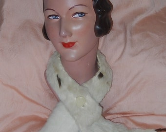 Vintage ermine fur collar tippet with tails millinery cream celluloid button silk lining stole c 1930/40