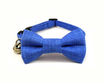 Cat / Small Dog Bow Tie Collar, Delft Blue Crosshatch