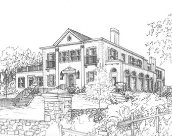 Custom Wedding Venue sketch -  wedding venue portrait drawn in pen and ink -  Ink Architectural Drawing