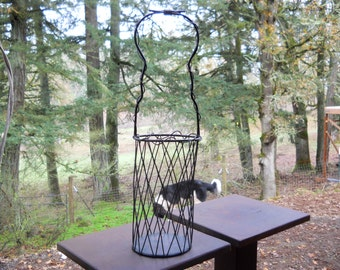 Vintage Iron Metal Wire Basket Wine Bottle Tote Carrier Cottage 1980s French Country Farmhouse Industrial Farm Table Center Piece Basket