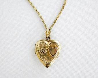 Vintage Heart Locket Gold Filled