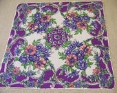 Vintage Linen Floral Hanky with Purples