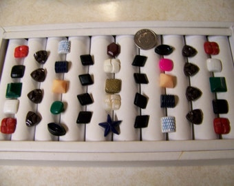 Lot of 41 Vintage Small Colorful Plastic Shank Buttons Shapes