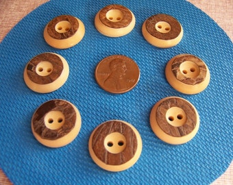 Set of 8 Vintage Tagua Nut Buttons Corozo Nut Buttons Sew Thrus 3/4""