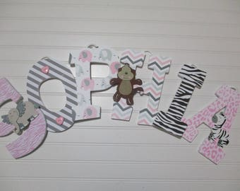 "SOPHIA - 12.00 PER LETTER, 8-1/2""  wooden nursery letters, elephant theme nursery, jungle theme, elephants, pink & gray nursery"