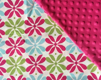 Baby Car Seat Canopy COVER or NURSING Cover: Modern Geometric Flowers on Cream with Hot Pink Fuschia Minky, Personalization Available