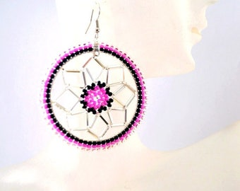 Dream Catcher Earrings Pink - Authentic Native American made - Free Shipping