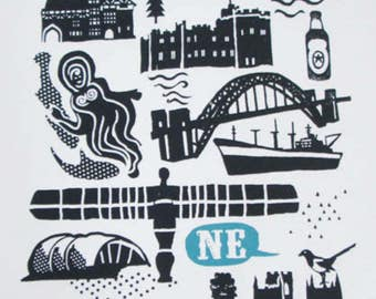North East Icons screen print