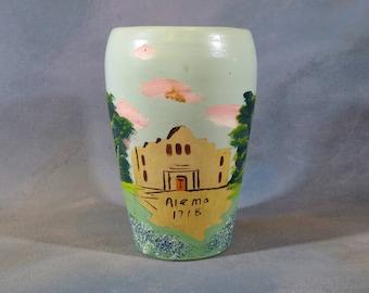 SALE San Juan Art Pottery Vase w The Alamo & Bluebonnet from San Antonio Texas