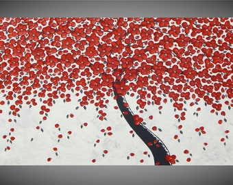 Tree Painting on Canvas Red Flower Acrylic Painting White Grey Silver Abstract Art Textured Wall Art Deco 48 x 24 MADE TO ORDER by ilonka