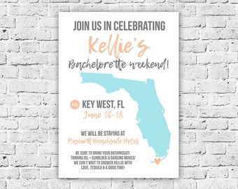 Bachelorette Weekend Celebration Invitation, Digital, Florida Printable, 5x7, With Any State