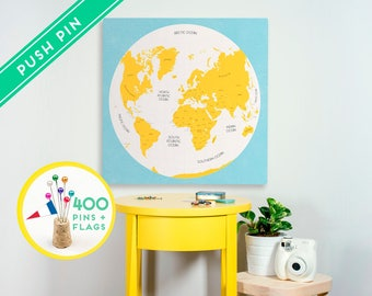 Push Pin World Map Canvas - Ready to Hang - 240 Pins + 198 World Flag Stickers