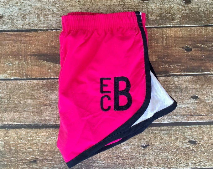 Monogrammed Running Shorts - Heat Press Vinyl Monogram - Monogrammed gifts - Cheer Camp Shorts