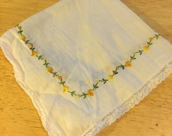 White Linen Hankie with Yellow Flowers