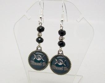 Triple Moon  Earrings - Blessed Be - Pagan Earrings - Altered Art - Wicca Earrings - Goddess Jewelry